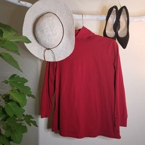 WOMEN WITHIN Ruby Red %100 cotton Turtle Neck